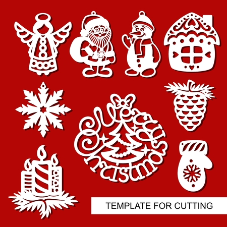 Set of christmas Decoration - silhouettes of Angel, Santa Claus, Snowman, house, candles, snowflake, pine cone. Template for laser cutting, wood carving, paper cut. Decoration for xmas tree. Vector. Çizim