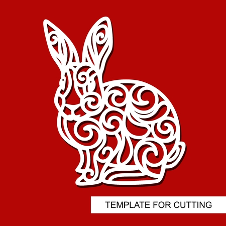 Silhouette of Rabbit - decor for Easter. Template for laser cutting, wood carving, paper cut and printing. Vector illustration. Çizim
