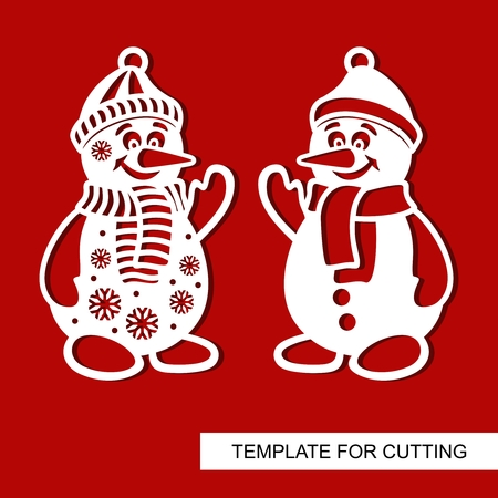 Silhouette of Snowman. Templates for laser cutting, wood carving, plotter cutting or printing. Vector illustration.