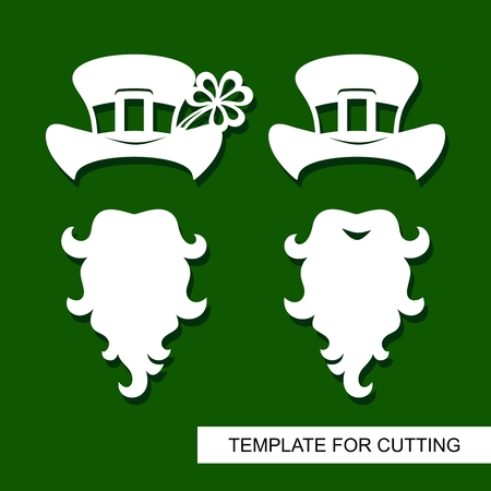 Set of decoration for St. Patrick's Day: Beard, hat with buckle, shamrock. Template for laser cutting, wood carving, paper cut and printing. Vector illustration.