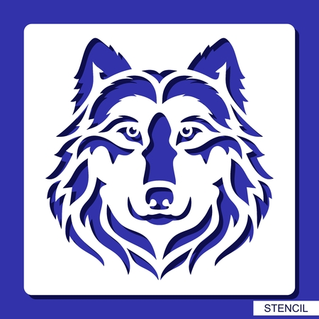 Stencil. Wolf face icon. Vector silhouette of a predator head. Template for laser cutting, wood carving, paper cut and printing. Çizim