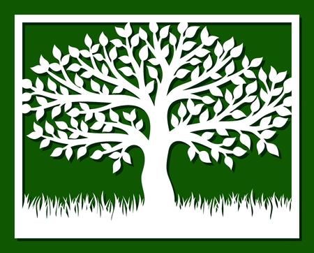 Marco con árboles y pasto. Plantilla para corte láser, tallado en madera, corte e impresión de papel. Ilustración de vector.