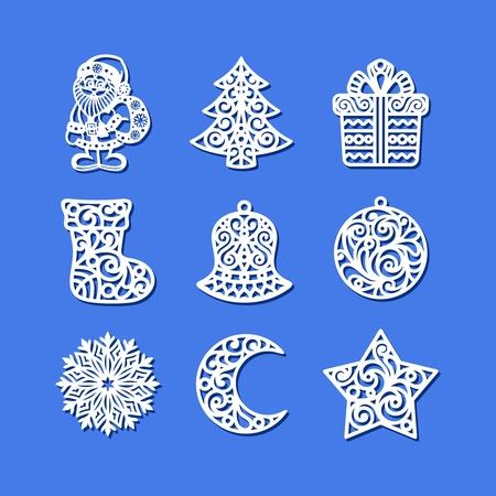 Set of Christmas Icons. Santa Claus, xmas tree, gift box, sock, bell, ball, snowflake, crescent, star.