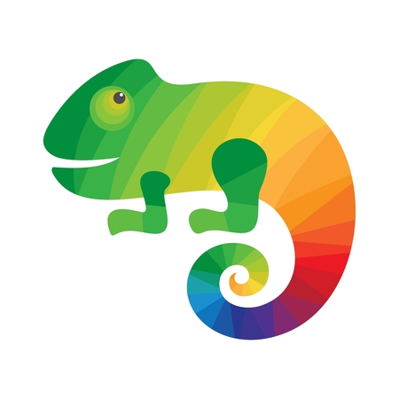 Chameleon Colorful icon. Icon for business. Vector illustration on a white background. Иллюстрация