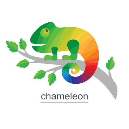 Chameleon on branch. Colorful Icon for business. Vector illustration on a white background.