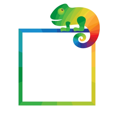Multicolored square frame with chameleon. Template for photo frame or flyer. White background. Vector illustration. Illustration