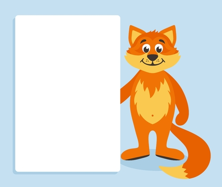 Orange fox with white board. Template for your text. Cartoon character with white banner. Place your text on blank sheet. Vector illustration.