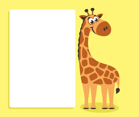 Cute Giraffe with white board. Template for your text. Cartoon character with white banner. Place your text on blank sheet. Vector illustration. Standard-Bild - 102558133