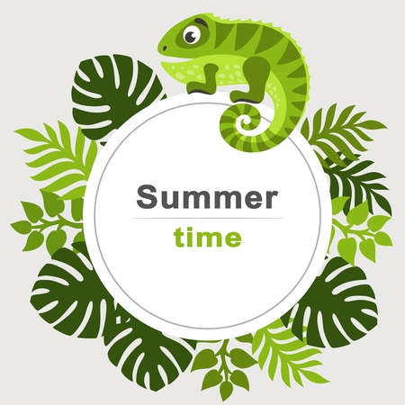 Summer tropical background with palm leaves and cartoon iguana. Round frame. Place for text. Theme of plants. Vector floral background.
