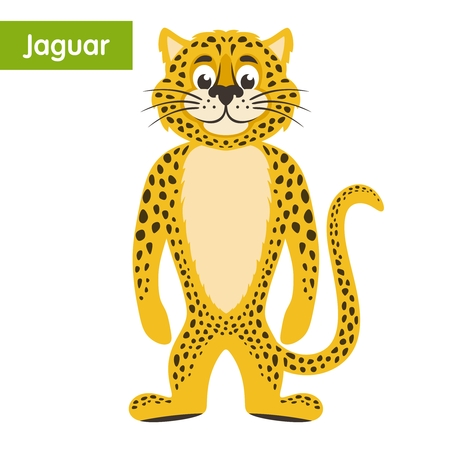 Yellow jaguar on a white background. Cartoon character. Vector illustration. Illustration