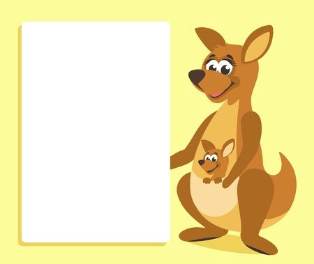Brown kangaroo with white board. Template for your text. Cartoon character with white banner. Place your text on blank sheet. Vector illustration. Stock Illustratie