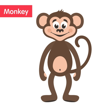 Brown Monkey. Cartoon character on a white background. Vector illustration. Illustration