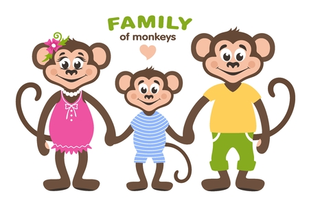 A family of three monkeys - mom, dad and son. Cartoon characters for children. Vector illustration. Vectores