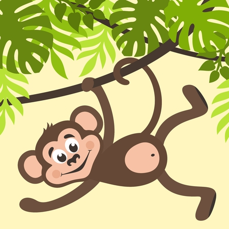 Monkey is hanging on a creeper. Green palm leaves on a yellow background. Cartoon character for kids. Vector illustration.