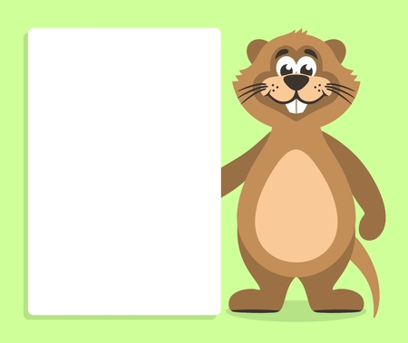 Brown nutria with white board on a green background. Template for your text. Cartoon character with white banner. Place your text on blank sheet. Vector illustration.