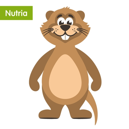 Funny brown nutria. Cartoon character in a white background. Flat style. Vector illustration.
