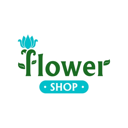 Vector design for flower shop. Emblem with blue tulip. Icon for florist, flower store or symbol of cosmetic company. Floral label. Icon for web.