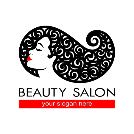 Hair salon icontype. Woman silhouette. Isolated icon for beauty studio, hairdresser salon, spa, cosmetics design, fashion, makeup.Vector template.