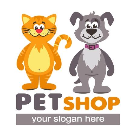 Diseño vectorial para tiendas de mascotas, refugios de animales y clínicas veterinarias. Icono de dibujos animados con gato naranja y perro gris.