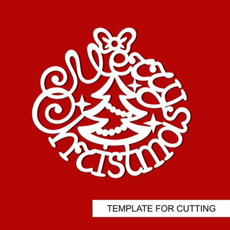 Merry Christmas decoration. Template for laser cutting, wood carving, plotter cutting or printing.