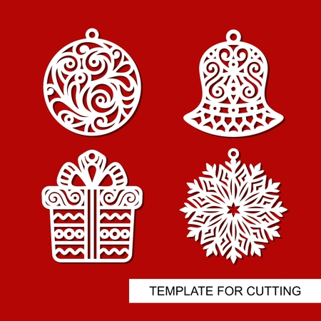 Set of christmas decoration: bell, gift, snowflake and ball. Templates for laser cutting, wood carving, plotter cutting or printing.