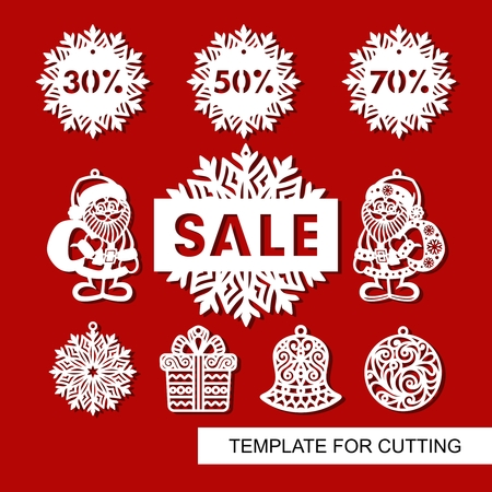 Set of christmas decoration for shop and markers - Santa Claus, bell, gift, snowflake, ball and signboard - Sale. Templates for laser cutting, wood carving or printing.