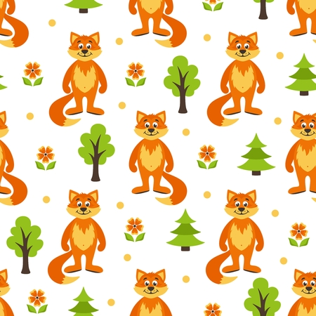 Seamless pattern with forest, foxes, trees, trees, flowers. Cartoon background. Vector illustration.