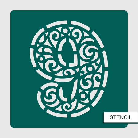 Stencil number nine - 9. Template for laser cutting, wood carving, paper cut and printing. Vector illustration.