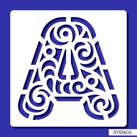 Stencil. Lacy letter A. Template for laser cutting, wood carving, paper cut and printing. Vector illustration.