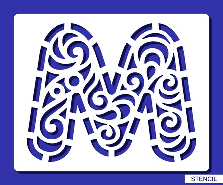 Stencil. Alphabet. Lacy letter M. Template for laser cutting, wood carving, paper cut and printing. Vector illustration.
