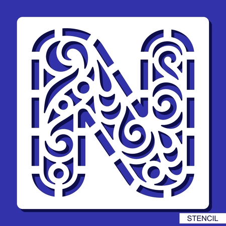 Stencil. Alphabet. Lacy letter N. Template for laser cutting, wood carving, paper cut and printing. Vector illustration. Ilustração