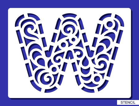 Stencil. Alphabet. Lacy letter W. Template for laser cutting, wood carving, paper cut and printing. Vector illustration.