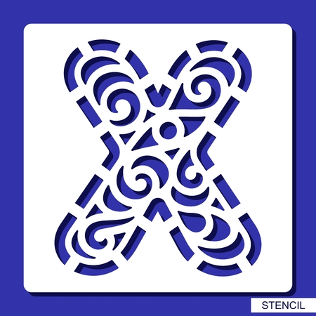 Stencil. Alphabet. Lacy letter X. Template for laser cutting, wood carving, paper cut and printing. Vector illustration.