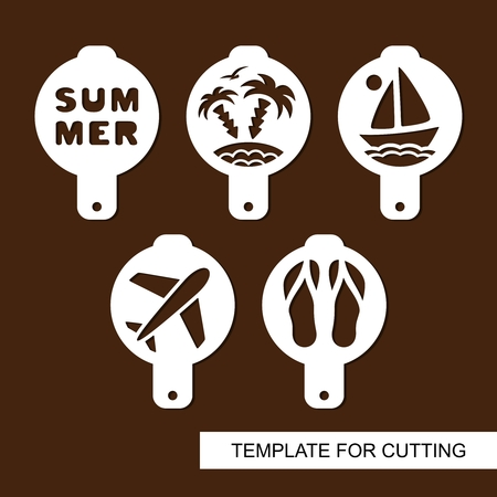 Set of coffee stencils. For drawing picture on cappuccino, macchiato and latte. Summer theme. Silhouettes of sailboat, palm trees, airplane, beach, slippers. Template for laser cutting. Vector.