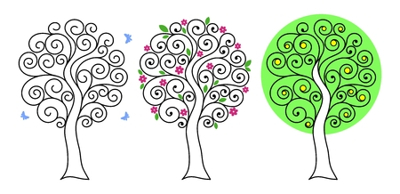 Set of trees with curls. Blue butterflies fly around. Graphic silhouette of sakura with pink flowers and green leaves. Lemon tree. Thin black lines. Flat style. Vector illustration.