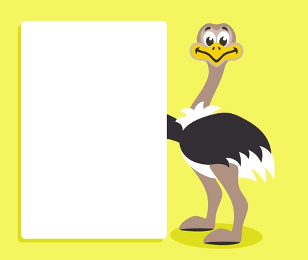 Cute ostrich with white board on yellow background. Template for your text. Cartoon character with white banner. Place your text on blank sheet. Vector illustration.