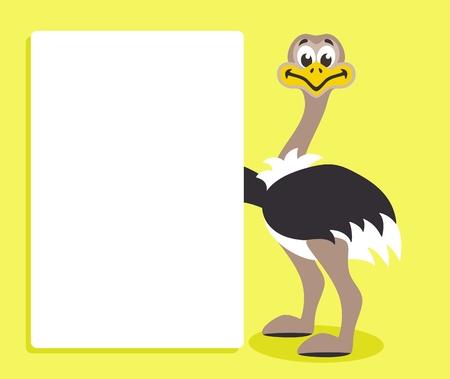 Netter Strauß mit weißer Tafel auf gelbem Hintergrund. Vorlage für Ihren Text. Zeichentrickfigur mit weißem Banner. Platzieren Sie Ihren Text auf einem leeren Blatt. Vektorillustration.