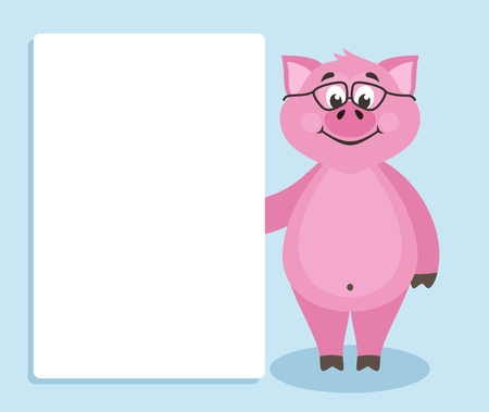Cute pink pig with glasses on blue background. Template for your text. Cartoon character with white banner or board. Place your text on blank sheet. Flat style. Colorful Vector illustration.
