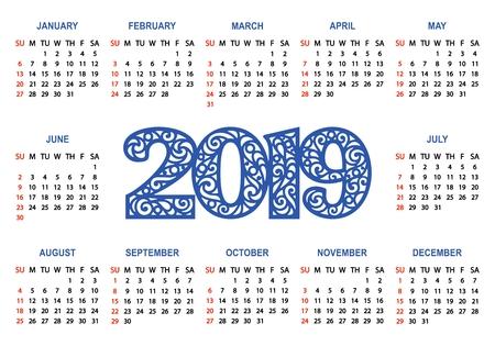 Calendar 2019 on a white background. Week starts on Sunday. Basic grid. Simple style. Vector illustration. Illustration