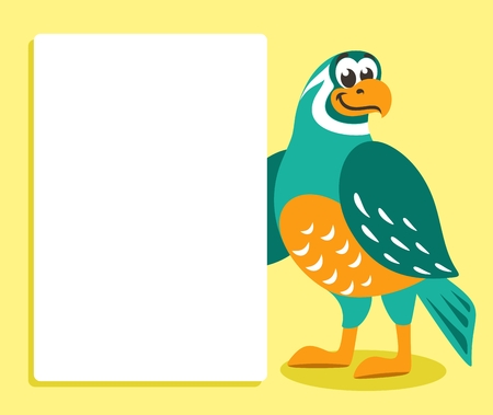 Green bird with white banner or board. Template for your text. Cartoon character on yellow background. Place your text on blank sheet. Flat style. Colorful Vector illustration.