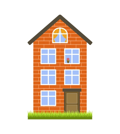 Orange brick house on a white background. Three floors and an attic. The door and six windows. Flat style. Isolated object. Vector clip art.