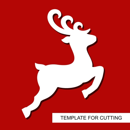 Christmas decoration - toy deer. Reindeer silhouette. Template for laser cutting, wood carving, paper cut and printing. New Year theme. Isolated object. Vector illustration. Vettoriali