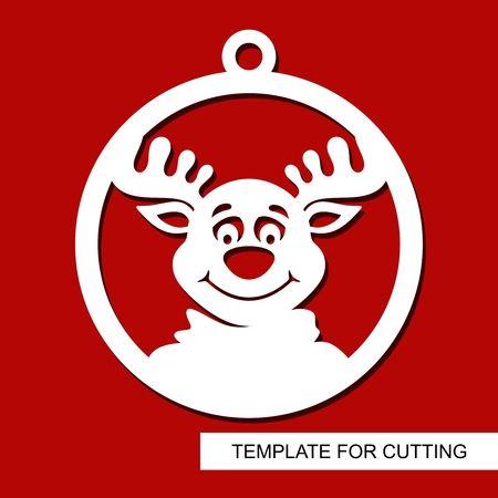 Decoración navideña - cabeza de ciervo. Silueta de reno en una bola. Plantilla para corte láser, tallado en madera, corte e impresión de papel. Tema de año nuevo. Ilustración vectorial.