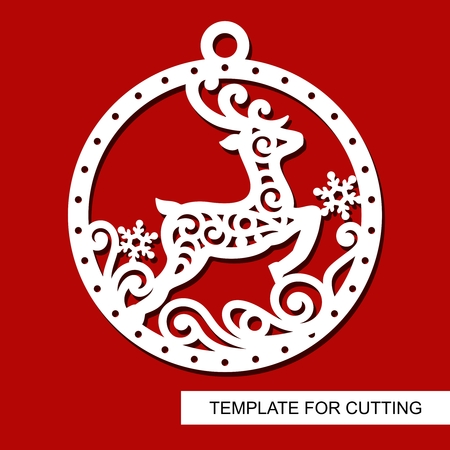 Christmas decoration - lace deer silhouette in ball with snowflakes. Template for laser cutting, wood carving, paper cutting and printing. New Year theme. Vector illustration.