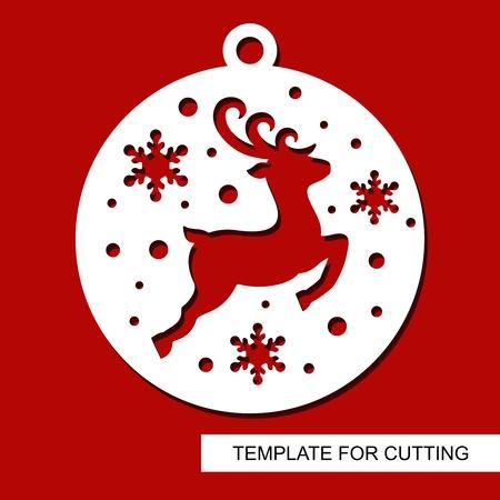 Decoración de Navidad - silueta de ciervo en bola con copos de nieve. Plantilla para corte láser, tallado en madera, corte e impresión de papel. Tema de año nuevo. Ilustración de vector.