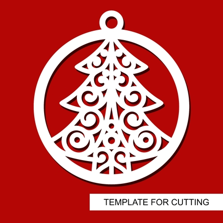Lace christmas tree in a ball. Template for laser cutting, wood carving, paper cutting and printing. New Year theme. Vector illustration. Illustration