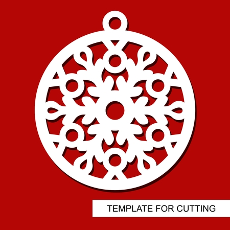 Christmas decoration - lace ball with snowflake. Template for laser cutting, wood carving, paper cutting and printing. Silhouette of a round toy. New Year theme. Vector illustration. Illustration