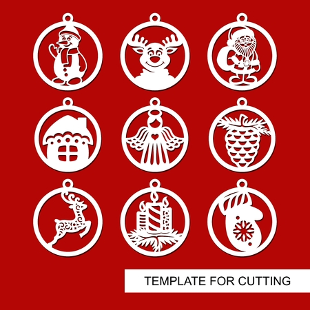Set of Christmas decorations - reindeer, candle, angel, snowman, Christmas tree, house Template for laser cutting. New Year theme. Vector illustration. Ilustracja