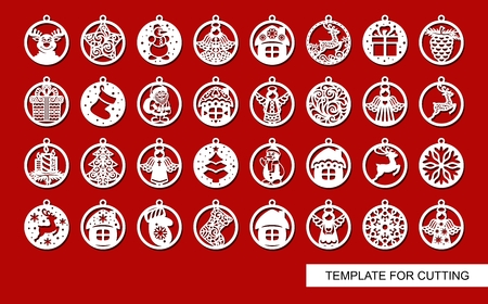 Père Noël, arbre de Noël, bonhomme de neige, arbre de Noël, maison. Gabarit pour la découpe laser. Thème du nouvel an. Illustration vectorielle. Vecteurs