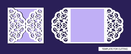 Silhouette of greeting card. Template for laser cutting, die or paper cut. Can used for wedding invitation, valentines day or birthday. Save the date holder. Lace and floral ornament. Vector image.
